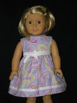 Purple Paisley Print American Girl 18 inch Doll Dress Handma
