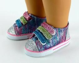 """Rainbow Glitter Sneaker Sparkle Tennis for American Girl 18"""""""