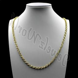 "10K Solid Yellow Gold Necklace Gold Rope Chain 2.5mm 16"" 18"""