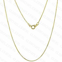"""Real 10K Solid Yellow Gold Italian Box Chain Necklace 16"""" -"""