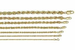 Real 10K Yellow Gold 2mm-7mm Diamond Cut Rope Chain Pendant