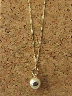 Real 14Kt Yellow Gold BALL PENDANT  Necklace  & Solid 14k go