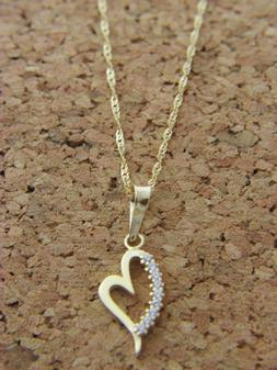 Real 14Kt Yellow Gold Heart Pendant  Necklace & Solid 14k go