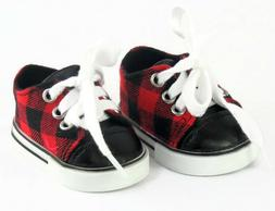 Red & Black Plaid Sneaker Shoes Boy for 18 inch American Gir