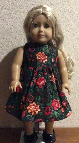 Red and Green Dress for 18 Inch American Girl Doll FREE SHIP