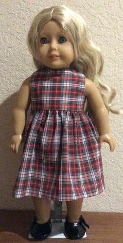 Red and Green Plaid Dress for 18 Inch American Girl Doll FRE