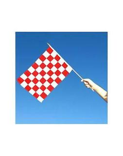 Red and White Checkered 12x18 inch Stick Flag