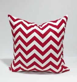 Red and White Chevron Zigzag Throw Pillowcase, Lumbar Cover,