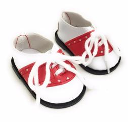 Red & White Oxford Saddle Shoes made for 18 inch American Gi