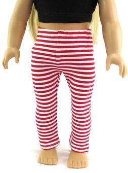 Red & White Striped Leggings for 18 inch American Girl Doll