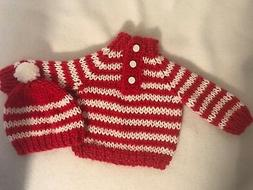 "Red and White Striped sweater and hat for 15"" or 18 inch dol"