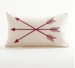 QINU KEONU Red Arrow Lumbar Pillow Cover Cotton Linen Cushio