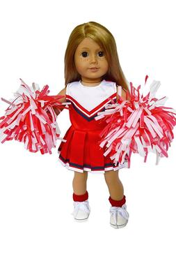 Red Cheerleader Doll Outfit Fits 18 Inch American Girl Doll