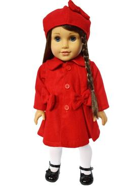 Red Coat Fits 18 Inch American Girl Dolls- 18 Inch Doll Clot