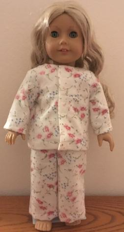 Red Floral Flannel  PJ's for 18 Inch American Girl Doll FRE