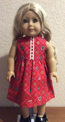 Red Holiday Dress for 18 Inch American Girl Doll FREE SHIPPI