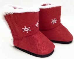 Red Sparkle Boots Shoes w/Snowflakes fits 18 inch American G