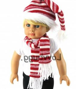Red White Stripe Hat and Scarf Set for 18 inch Doll American