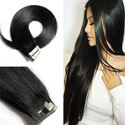 "18"" Remy Human Hair Tape in Hair Extensions #1 Jet Black Lon"