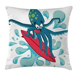 Ride The Wave Throw Pillow Cushion Cover, Surfer Octopus Hav