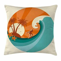 Ambesonne Ride The Wave Throw Pillow Cushion Cover, Retro Ma