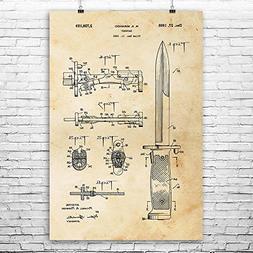 Rifle Bayonet Poster Art Print, Military Gift, Soldier Gift,