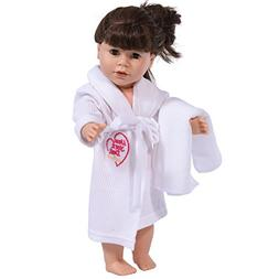 18 Inch Doll Robe in White with Towel and Tie Fits American