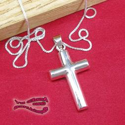 Rounded Thick Cross Pendant in SOLID 925 Sterling Silver - N