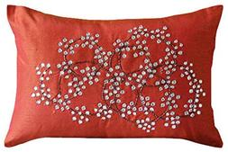 Rust Lumbar Pillow Cover, Crystals Medallion Lumbar Pillow C
