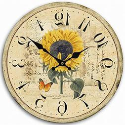 Eruner Rustic Floral Clock Clock, 12-inch Europe Country Sty