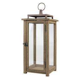 Stonebriar 18 Inch Rustic Wooden Candle Hurricane Lantern, F