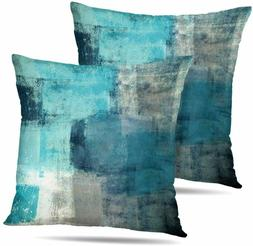 Set of 2 Turquoise and Grey Art Throw Pillows Covers Cushion