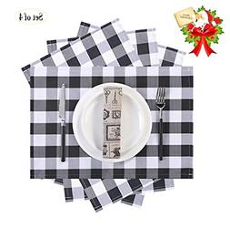 Set of 4 Buffalo Plaid Placemats 13 x 18 Inch Table Decorati