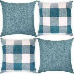 Set of 4 Throw Pillow Covers 18x18 Inch Decorative Square bl