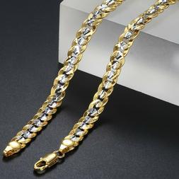 6mm Men Women Silver & Gold Filled Curb Cuban Link Chain Nec