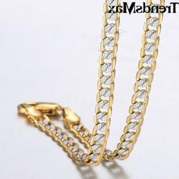 4mm Hammer Curb Cuban Link Silver Gold Filled Chain Necklace