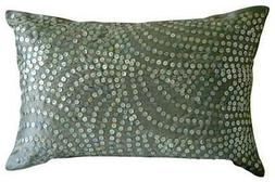 Silver Pearls 12x18 inch Silk Lumbar Oblong Pillow Cover - S