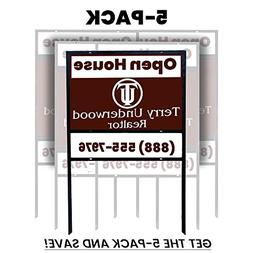 """5-pack of 24""""x18"""" Slide-in Real Estate Sign H-Frame With Rid"""