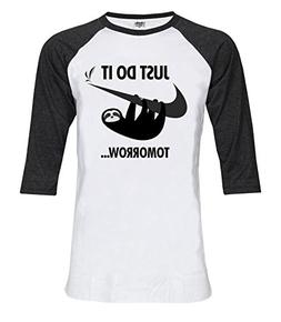 Topcloset Sloth Just Do It Tomorrow 3/4 Sleeve Unisex Baseba