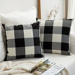 MIULEE Pack of 2, Classic Retro Checkers Plaids Cotton Linen