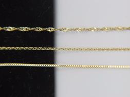 Solid 10k yellow gold Chain Necklace Box chain Rope chain Ca