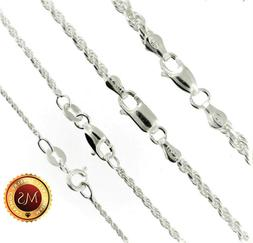 Italy 925 SOLID Sterling Silver Diamond-Cut ROPE Chain Neckl