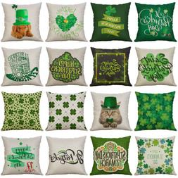 St. Patrick's Day Cotton Linen Cushion Cover Throw Pillow Ca