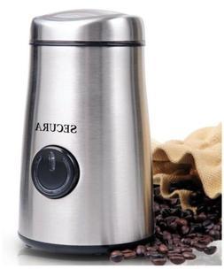 Secura Stainless Steel Coffee Bean Grinder Electric Quiet Hi