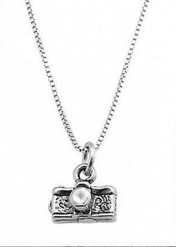STERLING SILVER PHOTOGRAPHER 35MM CAMERA CHARM WITH BOX CHAI
