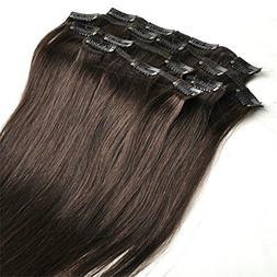 FANGYUANHAIR 18inch 7pcs Straight Remy Clip in Real Human Ha