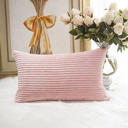 HOME BRILLIANT Striped Corduroy Oblong Throw Pillowcase Cush