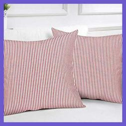 Striped Throw Pillow Covers Woven Decorat RED & WHITE Stripe