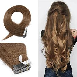 18 Inch Tape in Hair Extensions Remy Human Hair #06 Light Br