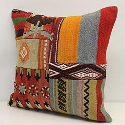 Throw Patchwork kilim pillow cover 18x18 inch  Handmade Kili